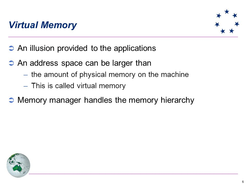 55 Virtual Memory An illusion provided to the applications An address space can be larger than –the amount of physical memory on the machine –This is called virtual memory Memory manager handles the memory hierarchy