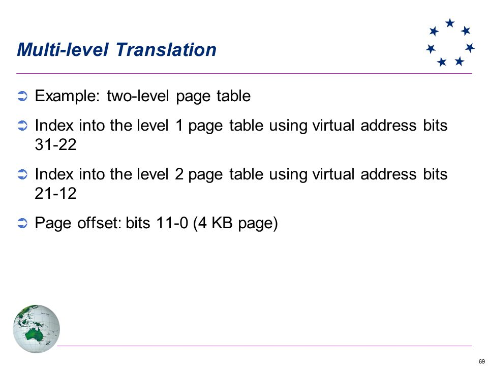 69 Multi-level Translation Example: two-level page table Index into the level 1 page table using virtual address bits 31-22 Index into the level 2 pag