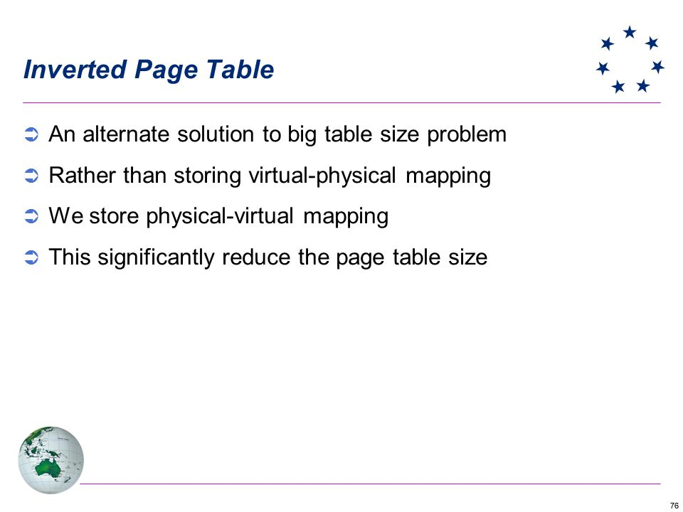 76 Inverted Page Table An alternate solution to big table size problem Rather than storing virtual-physical mapping We store physical-virtual mapping This significantly reduce the page table size