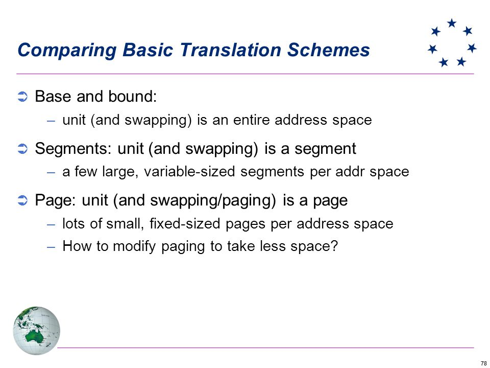 78 Comparing Basic Translation Schemes Base and bound: –unit (and swapping) is an entire address space Segments: unit (and swapping) is a segment –a few large, variable-sized segments per addr space Page: unit (and swapping/paging) is a page –lots of small, fixed-sized pages per address space –How to modify paging to take less space?