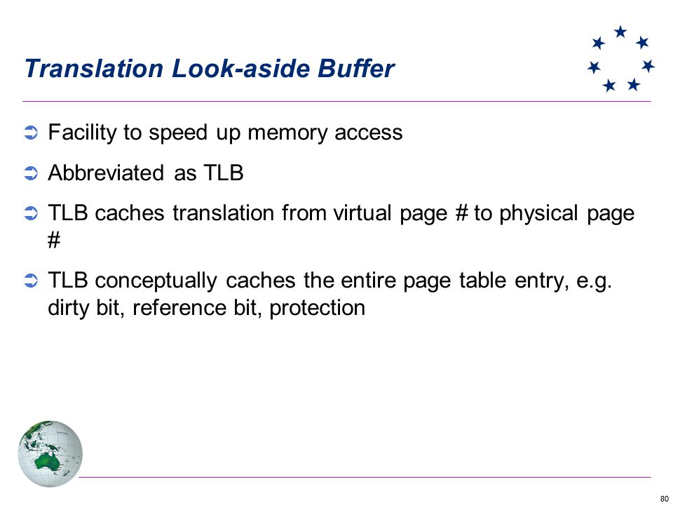 80 Translation Look-aside Buffer Facility to speed up memory access Abbreviated as TLB TLB caches translation from virtual page # to physical page # T