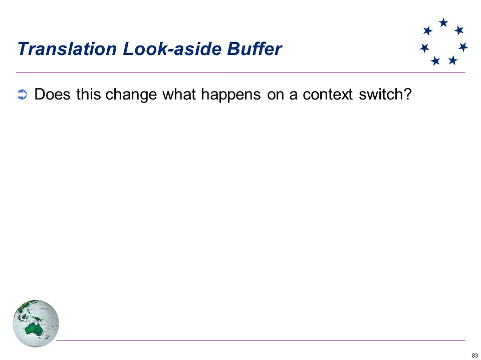83 Translation Look-aside Buffer Does this change what happens on a context switch?