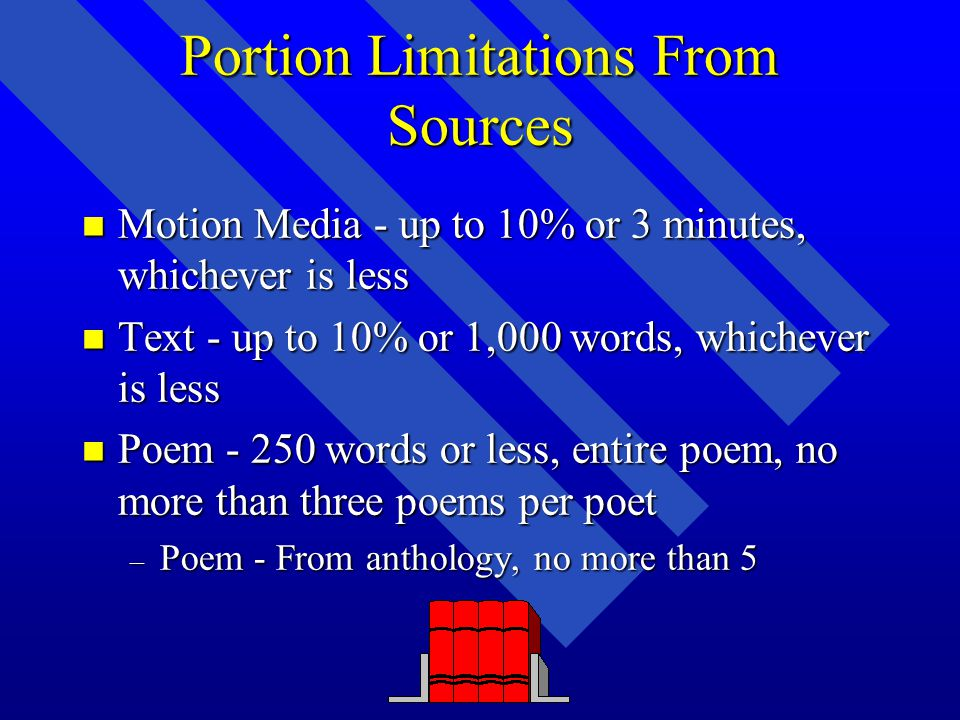 Portion Limitations From Sources n Motion Media - up to 10% or 3 minutes, whichever is less n Text - up to 10% or 1,000 words, whichever is less n Poem - 250 words or less, entire poem, no more than three poems per poet – Poem - From anthology, no more than 5