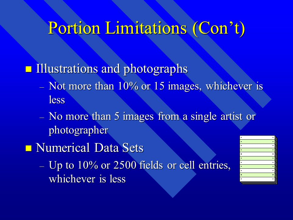 Portion Limitations (Cont) n Illustrations and photographs – Not more than 10% or 15 images, whichever is less – No more than 5 images from a single artist or photographer n Numerical Data Sets – Up to 10% or 2500 fields or cell entries, whichever is less