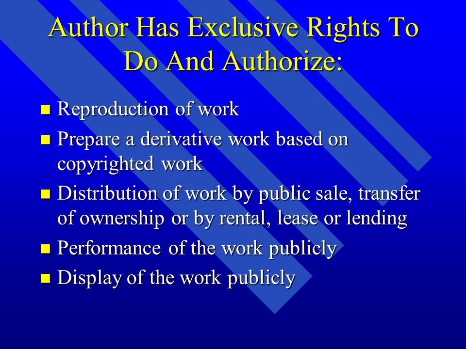 Conditions for Using/Reproducing a Copyrighted Work Conditions for Using/Reproducing a Copyrighted Work n Copyright holder grants permission –By sale or purchase agreement –By request –Freely offered n Special exemptions in the law n Fair Use