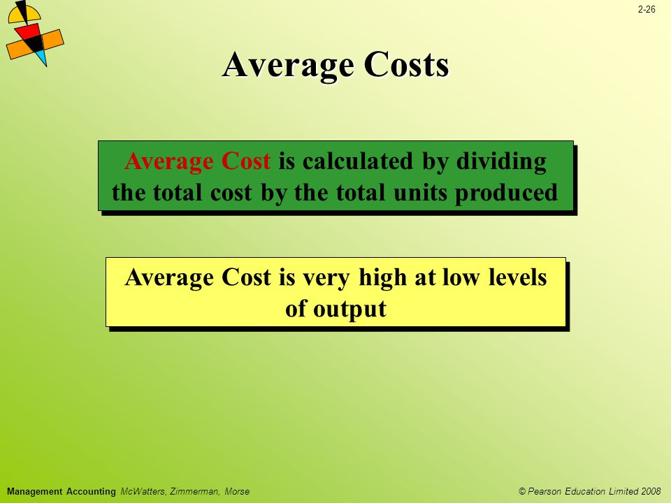 2-26 © Pearson Education Limited 2008 Management Accounting McWatters, Zimmerman, Morse Average Costs Average Cost is very high at low levels of output Average Cost is calculated by dividing the total cost by the total units produced