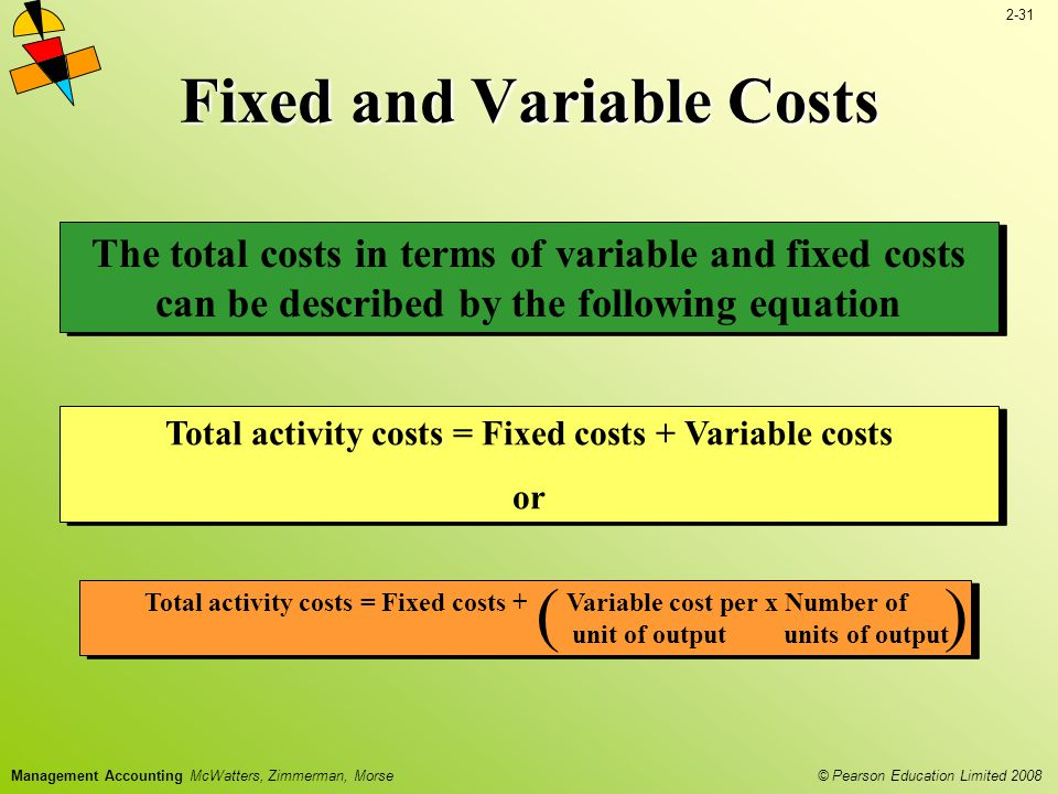 2-31 © Pearson Education Limited 2008 Management Accounting McWatters, Zimmerman, Morse The total costs in terms of variable and fixed costs can be described by the following equation Fixed and Variable Costs Total activity costs = Fixed costs + Variable costs or Total activity costs = Fixed costs + Variable costs or Total activity costs = Fixed costs + Variable cost per x Number of unit of output units of output ()