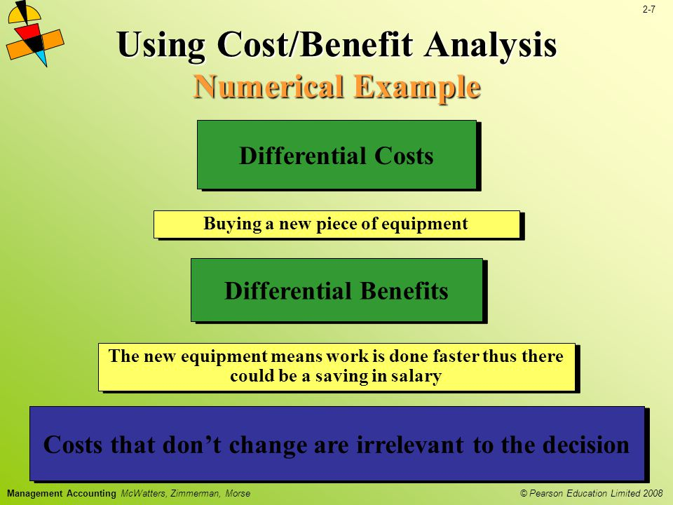 2-7 © Pearson Education Limited 2008 Management Accounting McWatters, Zimmerman, Morse Using Cost/Benefit Analysis Numerical Example Buying a new piece of equipment Differential Costs The new equipment means work is done faster thus there could be a saving in salary Differential Benefits Even with differential costs and benefits not all costs and benefits can be easily identified and measured Costs that dont change are irrelevant to the decision