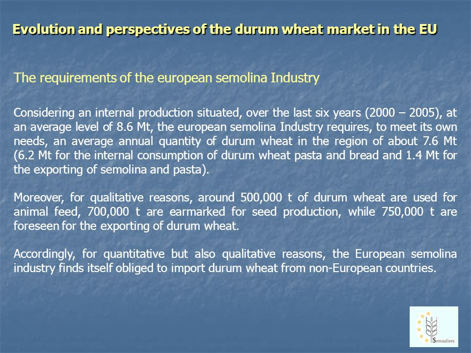 Evolution and perspectives of the durum wheat market in the EU The requirements of the european semolina Industry Considering an internal production situated, over the last six years (2000 – 2005), at an average level of 8.6 Mt, the european semolina Industry requires, to meet its own needs, an average annual quantity of durum wheat in the region of about 7.6 Mt (6.2 Mt for the internal consumption of durum wheat pasta and bread and 1.4 Mt for the exporting of semolina and pasta).