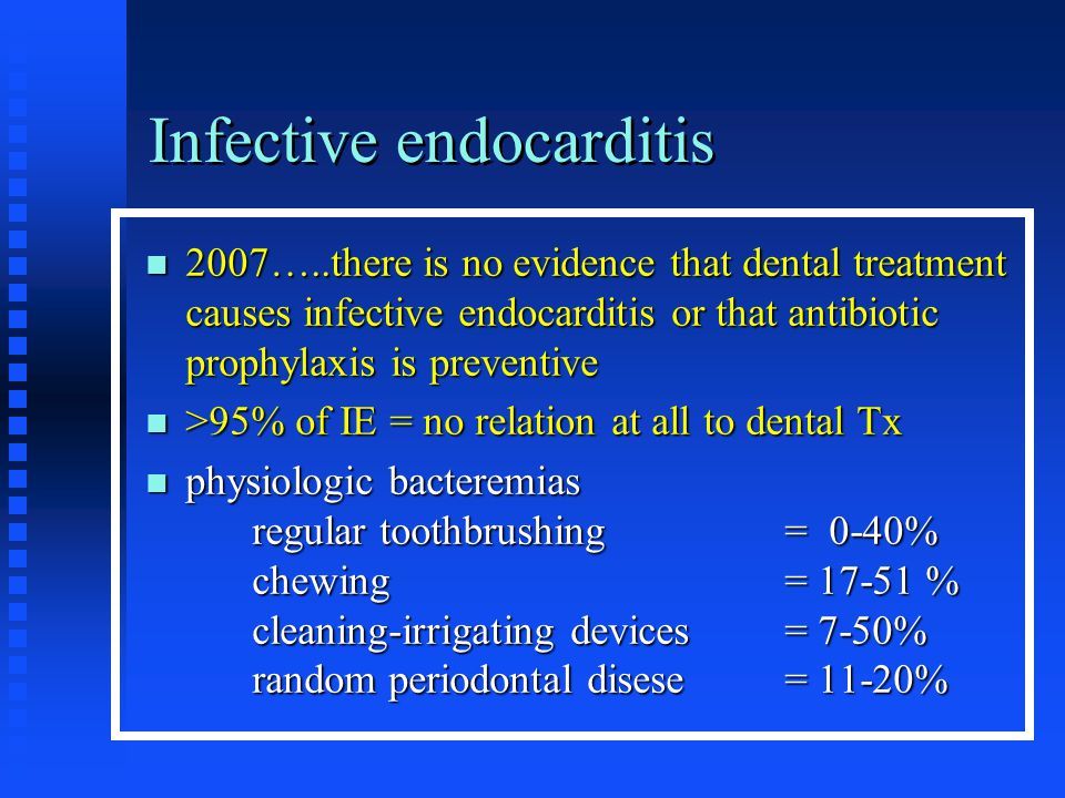 Infective endocarditis 2007…..there is no evidence that dental treatment causes infective endocarditis or that antibiotic prophylaxis is preventive 20
