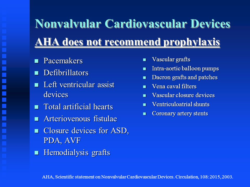 Nonvalvular Cardiovascular Devices AHA does not recommend prophylaxis Pacemakers Pacemakers Defibrillators Defibrillators Left ventricular assist devi