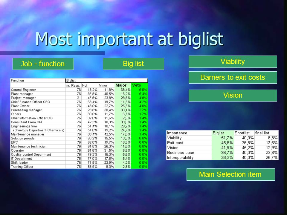 Most important at biglist Big list Job - function Viability Vision Main Selection item Barriers to exit costs