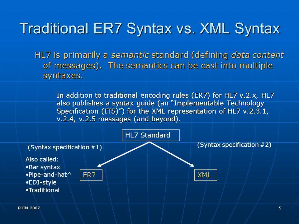 PHIN 20076 ER7 Syntax vs.