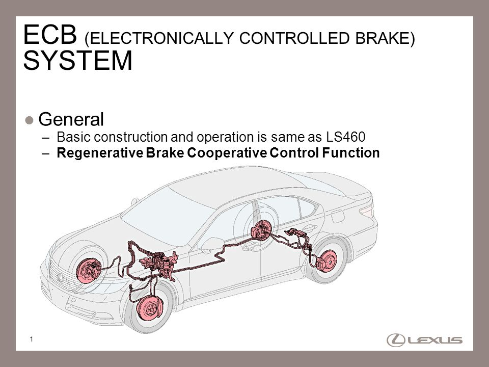 1 ECB (ELECTRONICALLY CONTROLLED BRAKE) SYSTEM General –Basic construction and operation is same as LS460 –Regenerative Brake Cooperative Control Func