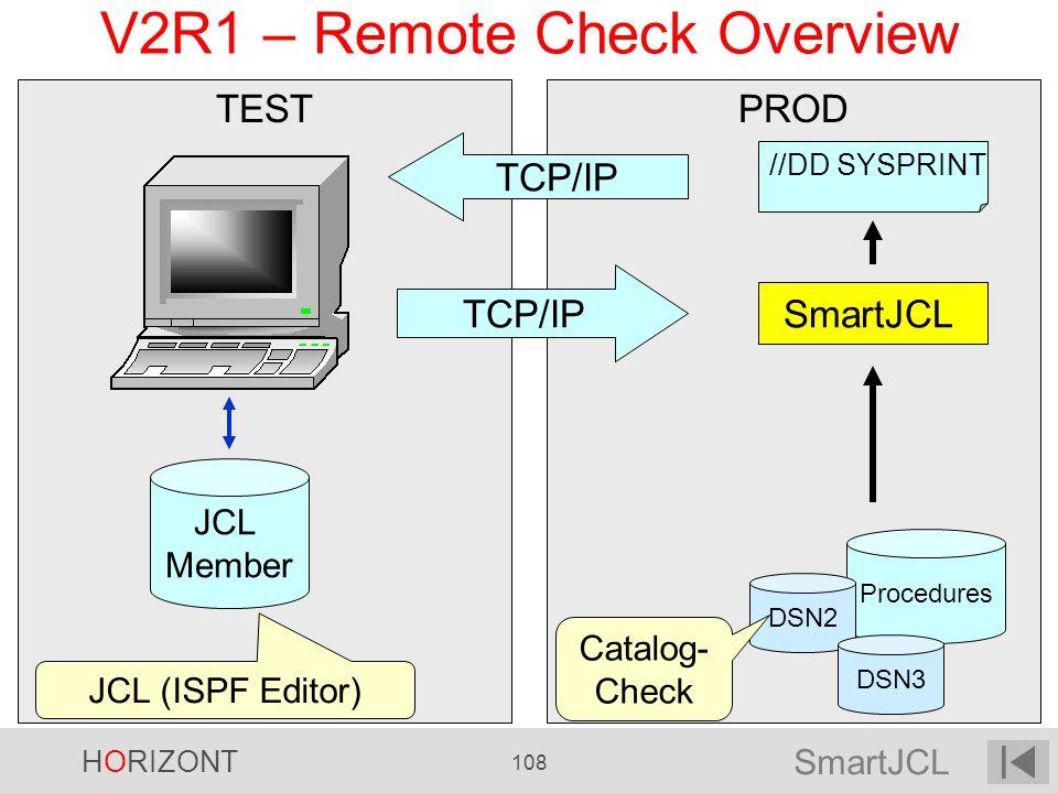 SmartJCL HORIZONT 108 PRODTEST V2R1 – Remote Check Overview //DD SYSPRINT SmartJCL Procedures DSN2 DSN3 Catalog- Check TCP/IP JCL Member JCL (ISPF Edi