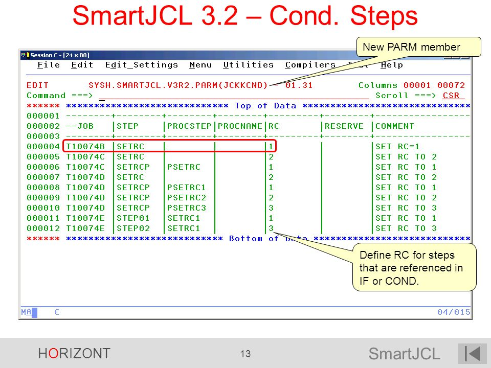 SmartJCL HORIZONT 13 SmartJCL 3.2 – Cond. Steps New PARM member Define RC for steps that are referenced in IF or COND.