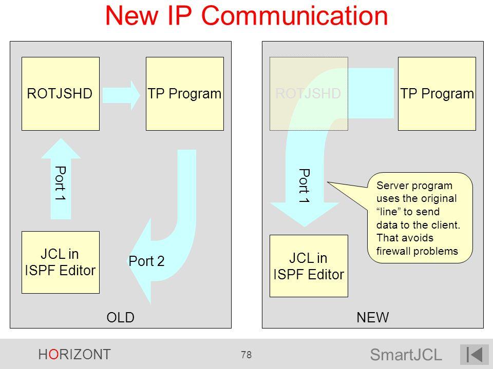 SmartJCL HORIZONT 78 NEWOLD New IP Communication JCL in ISPF Editor Port 1 ROTJSHDTP Program Port 2 JCL in ISPF Editor Port 1 ROTJSHDTP Program Port 1