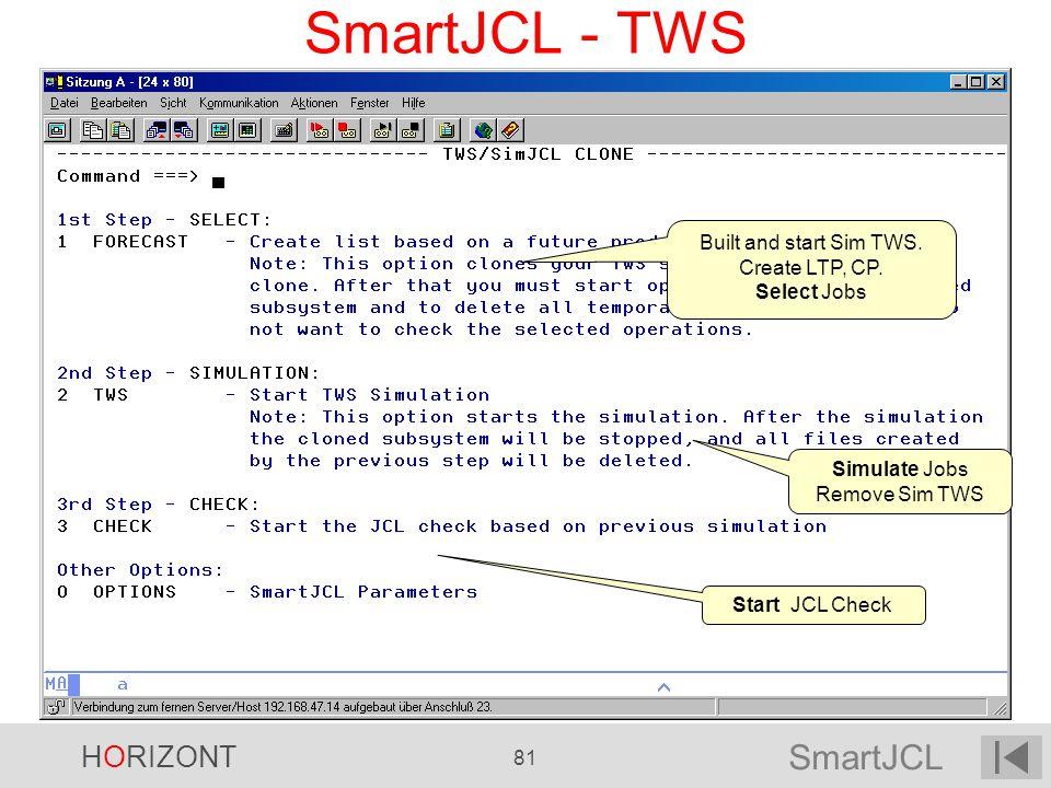 SmartJCL HORIZONT 81 SmartJCL - TWS Built and start Sim TWS. Create LTP, CP. Select Jobs Simulate Jobs Remove Sim TWS Start JCL Check