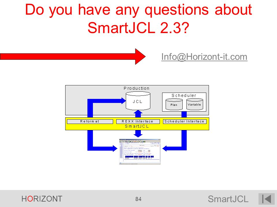 SmartJCL HORIZONT 84 Do you have any questions about SmartJCL 2.3? Info@Horizont-it.com