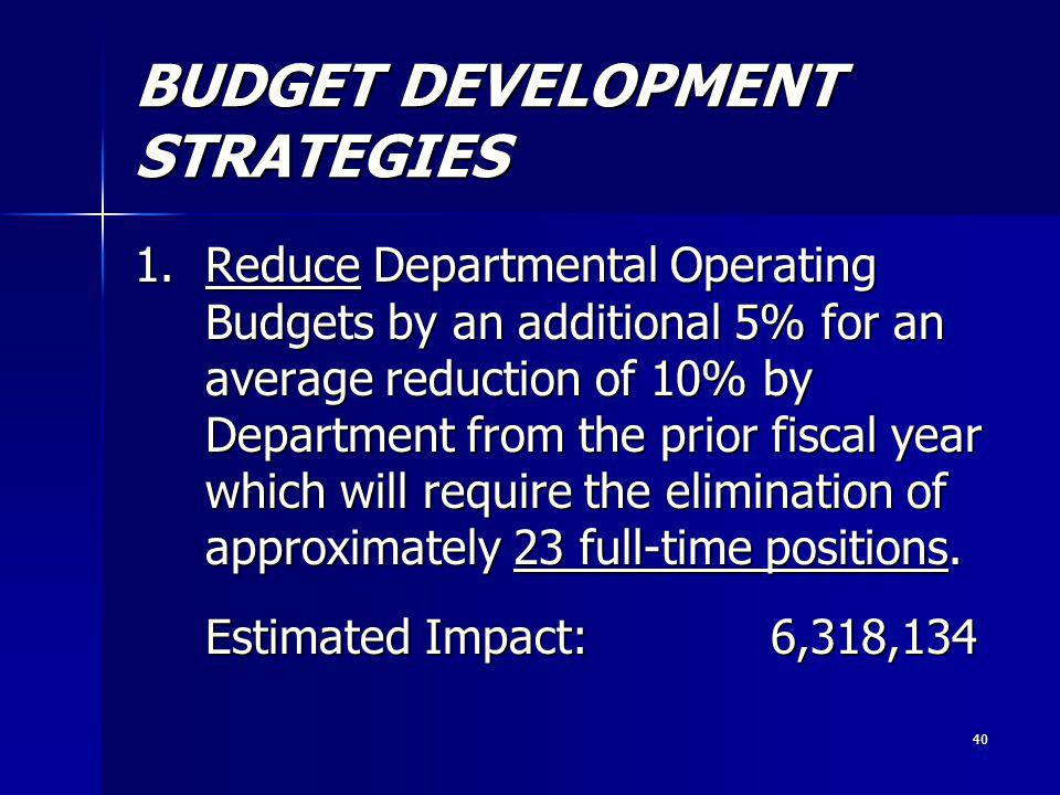 40 BUDGET DEVELOPMENT STRATEGIES 1.Reduce Departmental Operating Budgets by an additional 5% for an average reduction of 10% by Department from the prior fiscal year which will require the elimination of approximately 23 full-time positions.