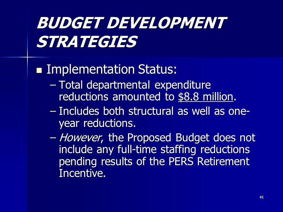 41 BUDGET DEVELOPMENT STRATEGIES Implementation Status: Implementation Status: –Total departmental expenditure reductions amounted to $8.8 million.