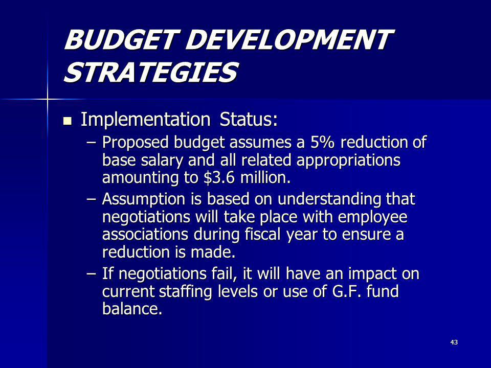 43 BUDGET DEVELOPMENT STRATEGIES Implementation Status: Implementation Status: –Proposed budget assumes a 5% reduction of base salary and all related appropriations amounting to $3.6 million.