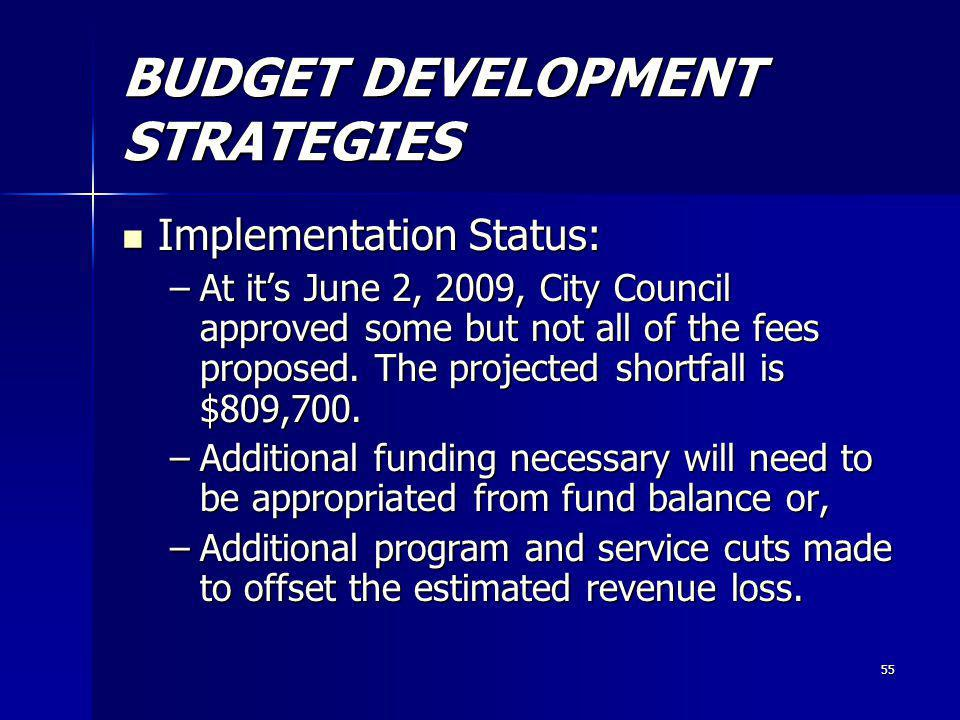 55 BUDGET DEVELOPMENT STRATEGIES Implementation Status: Implementation Status: –At its June 2, 2009, City Council approved some but not all of the fees proposed.