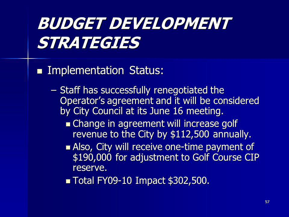 57 BUDGET DEVELOPMENT STRATEGIES Implementation Status: Implementation Status: –Staff has successfully renegotiated the Operators agreement and it will be considered by City Council at its June 16 meeting.