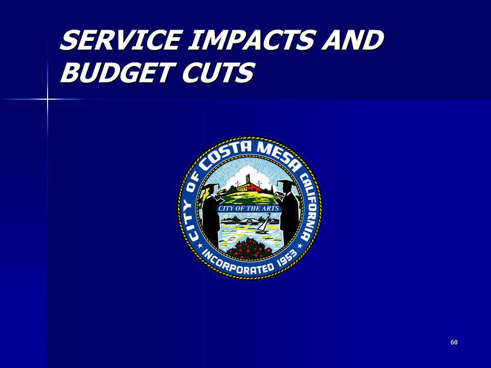 60 SERVICE IMPACTS AND BUDGET CUTS
