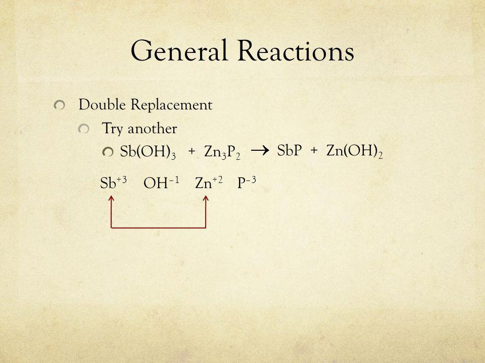 General Reactions Double Replacement Try another Sb(OH) 3 + Zn 3 P 2 Sb +3 OH –1 Zn +2 P –3 SbP + Zn(OH) 2