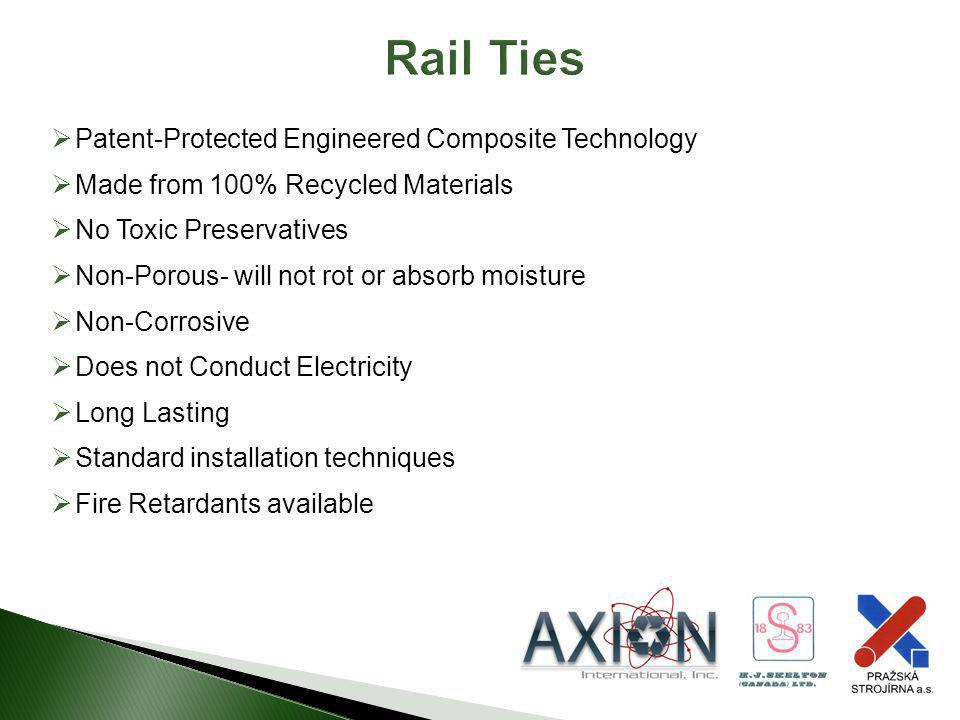 Rail Ties Patent-Protected Engineered Composite Technology Made from 100% Recycled Materials No Toxic Preservatives Non-Porous- will not rot or absorb
