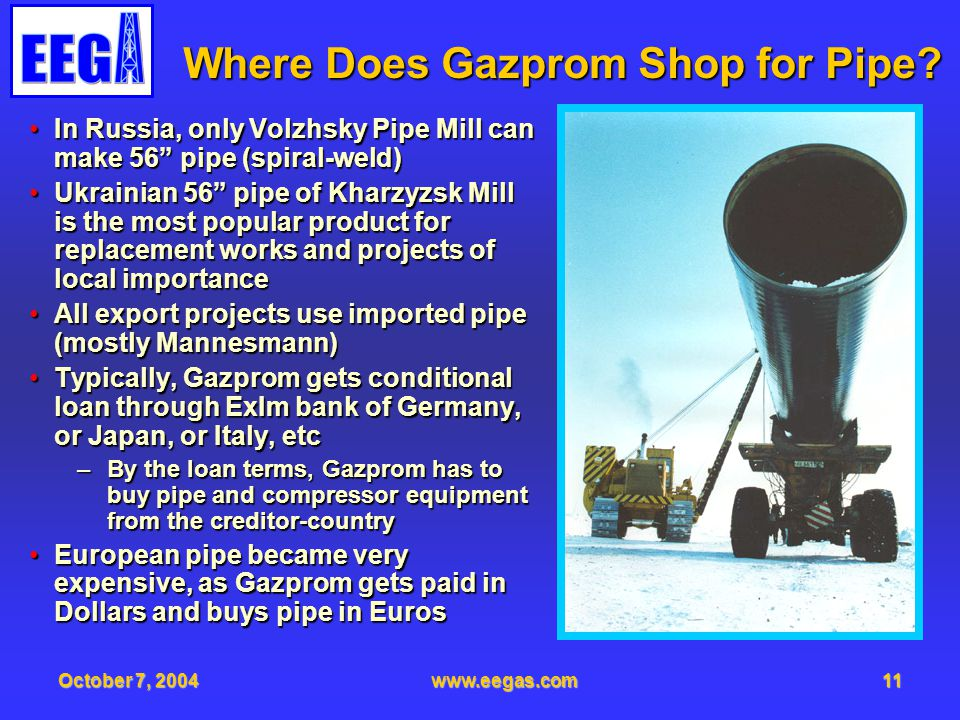 October 7, 2004www.eegas.com11 Where Does Gazprom Shop for Pipe? In Russia, only Volzhsky Pipe Mill can make 56 pipe (spiral-weld)In Russia, only Volz