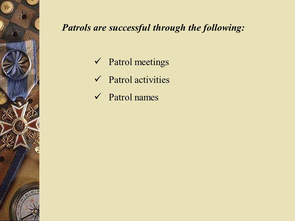 Patrols are successful through the following: Patrol meetings Patrol activities Patrol names