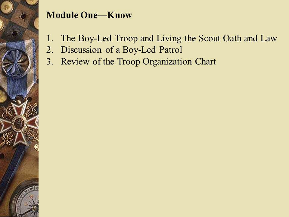 Module OneKnow 1.The Boy-Led Troop and Living the Scout Oath and Law 2.Discussion of a Boy-Led Patrol 3.Review of the Troop Organization Chart