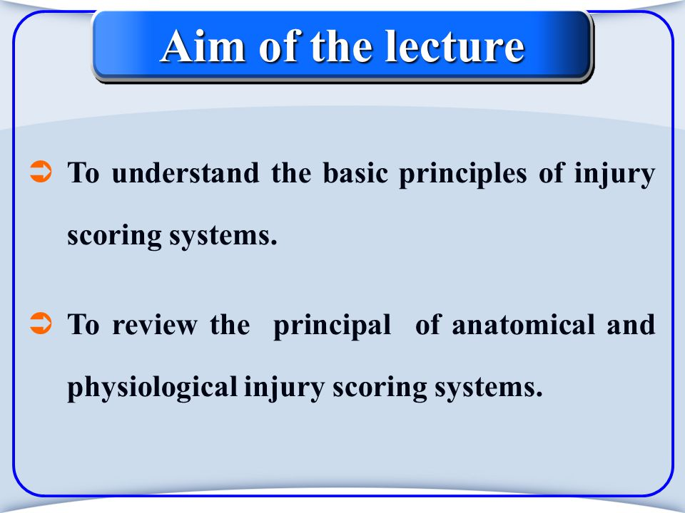 New Injury Severity Score - NISS Modified in 1997 from ISS It equals The sum of the squares of the AIS of each of the three most severe AIS injuries, regardless of the body region in which they occur.