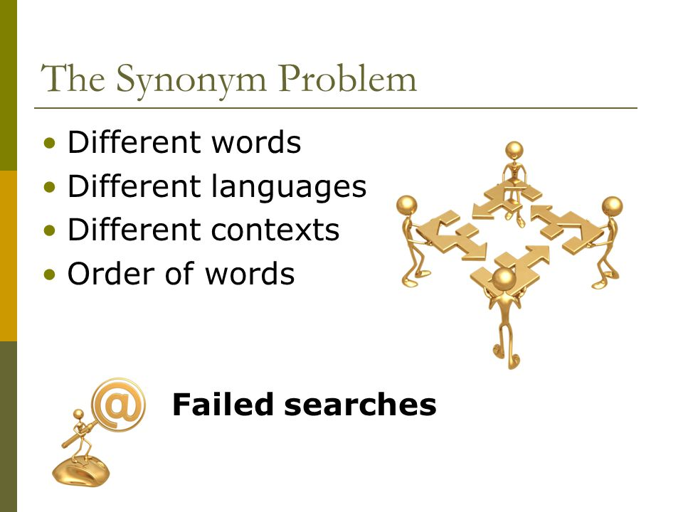 The Synonym Problem Different words Different languages Different contexts Order of words Failed searches