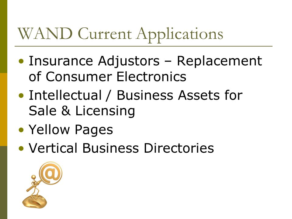 WAND Current Applications Insurance Adjustors – Replacement of Consumer Electronics Intellectual / Business Assets for Sale & Licensing Yellow Pages Vertical Business Directories
