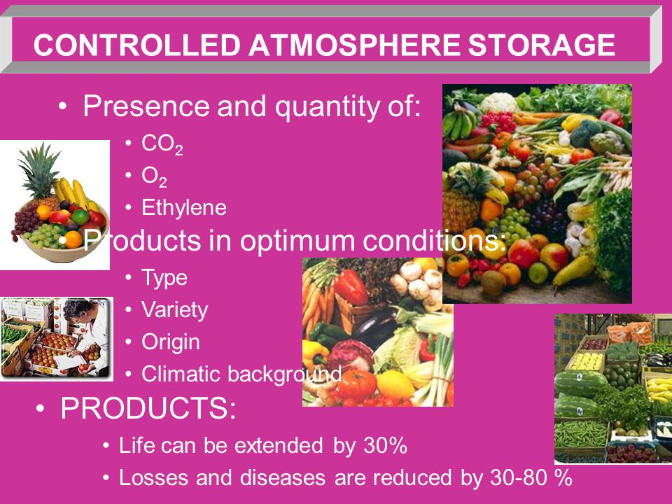 CONTROLLED ATMOSPHERE STORAGE Presence and quantity of: CO 2 O 2 Ethylene Products in optimum conditions: Type Variety Origin Climatic background PROD