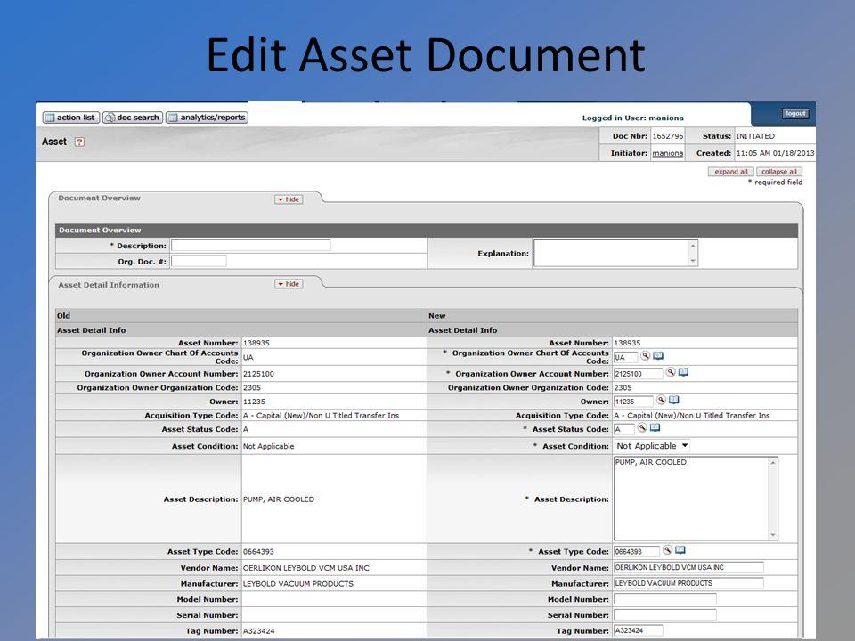 Edit Asset Document