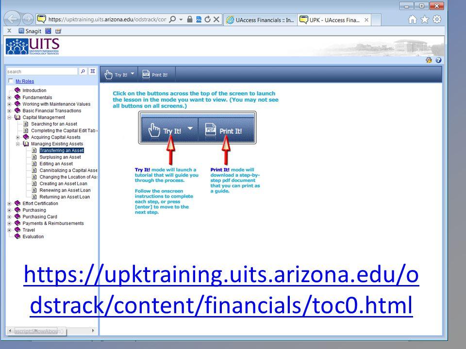 https://upktraining.uits.arizona.edu/o dstrack/content/financials/toc0.html
