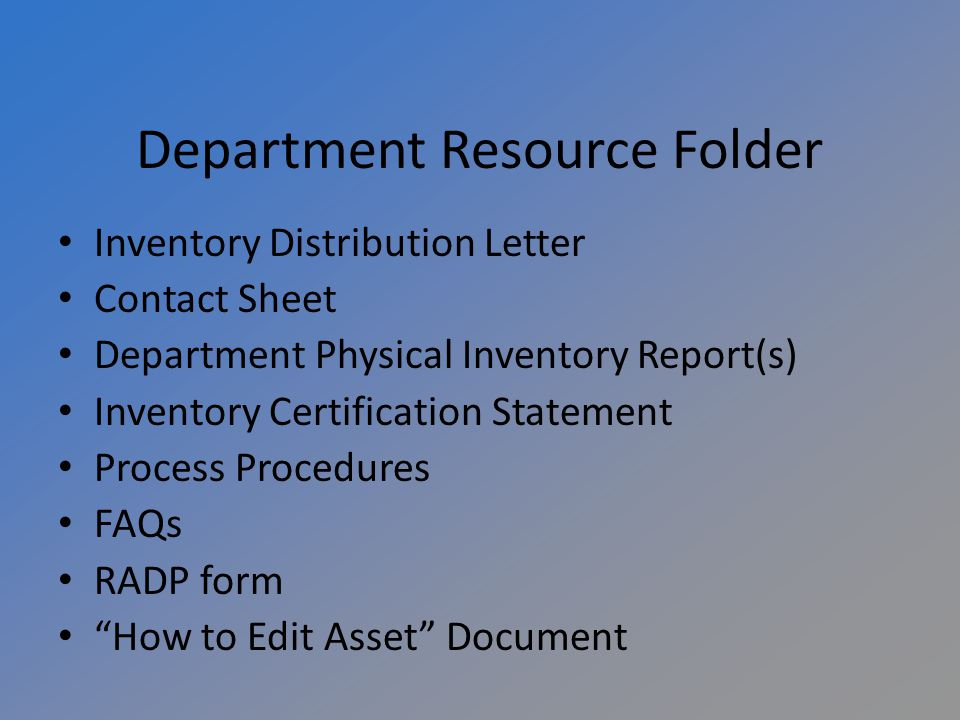 Making Corrections Departments have the ability to make changes to assets in KFS Please complete an Edit Asset Document to complete changes Document for How to Edit Assets is in your inventory folder Property Management will make corrections if department has not done so