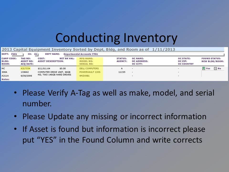 Please Verify A-Tag as well as make, model, and serial number.