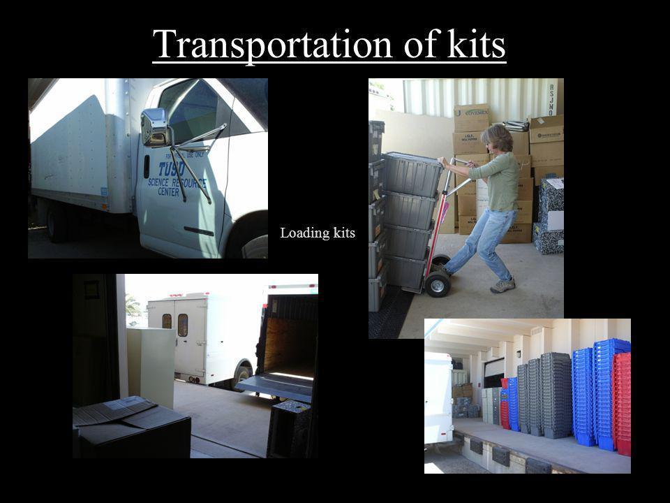 Transportation of kits Loading kits