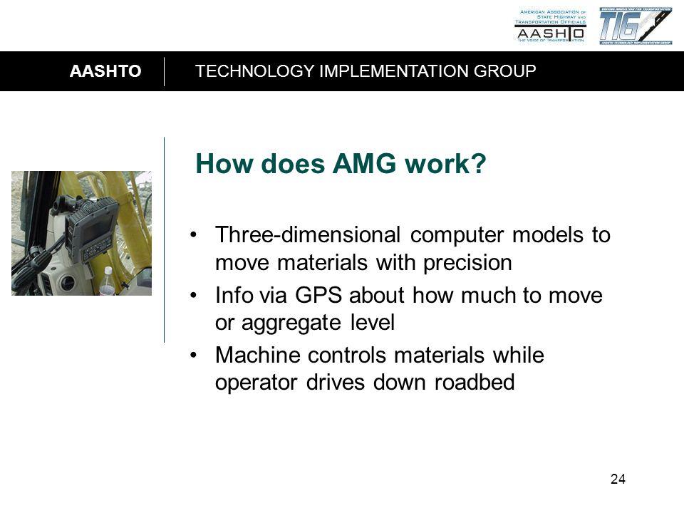 AASHTOTECHNOLOGY IMPLEMENTATION GROUP 24 How does AMG work.