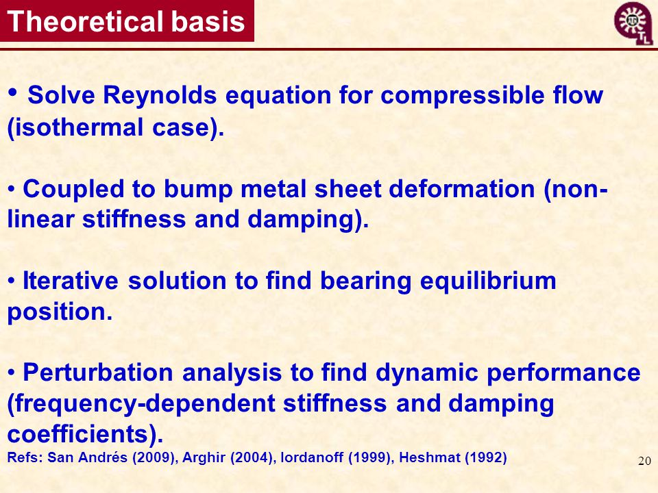 20 Theoretical basis Solve Reynolds equation for compressible flow (isothermal case). Coupled to bump metal sheet deformation (non- linear stiffness a