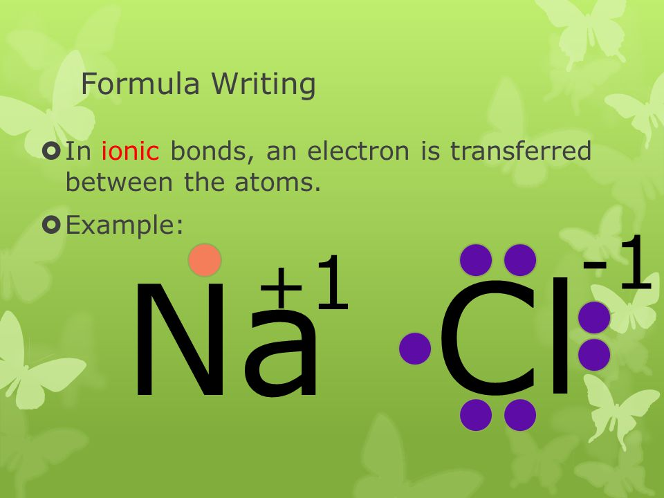 Formula Writing In ionic bonds, an electron is transferred between the atoms. Example: Na Cl +1+1