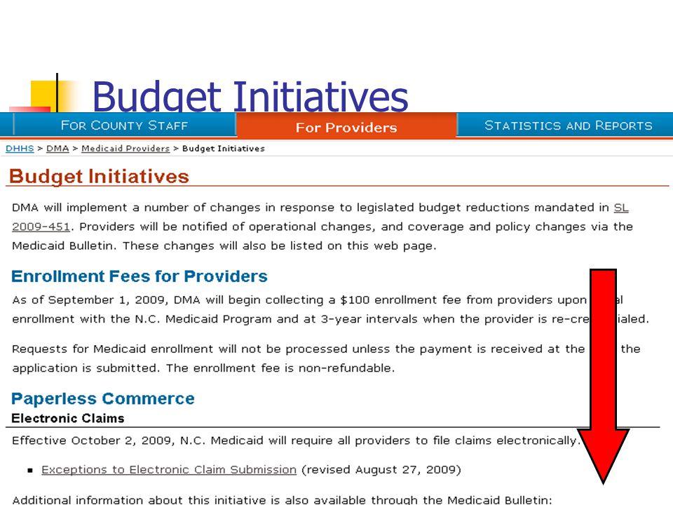 Budget Initiatives