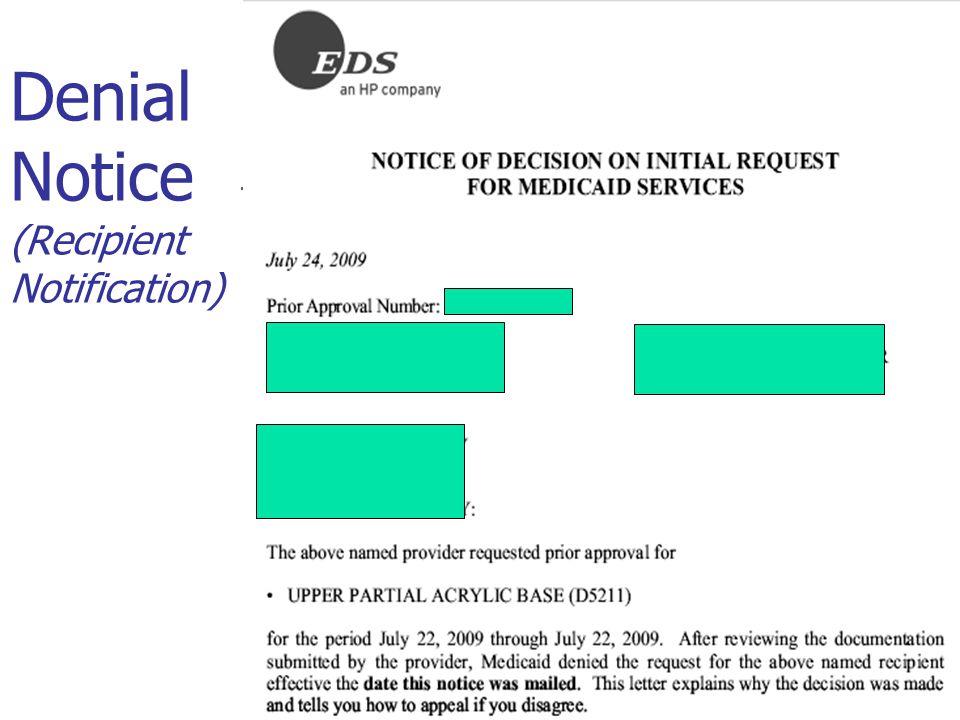 Denial Notice (Recipient Notification)