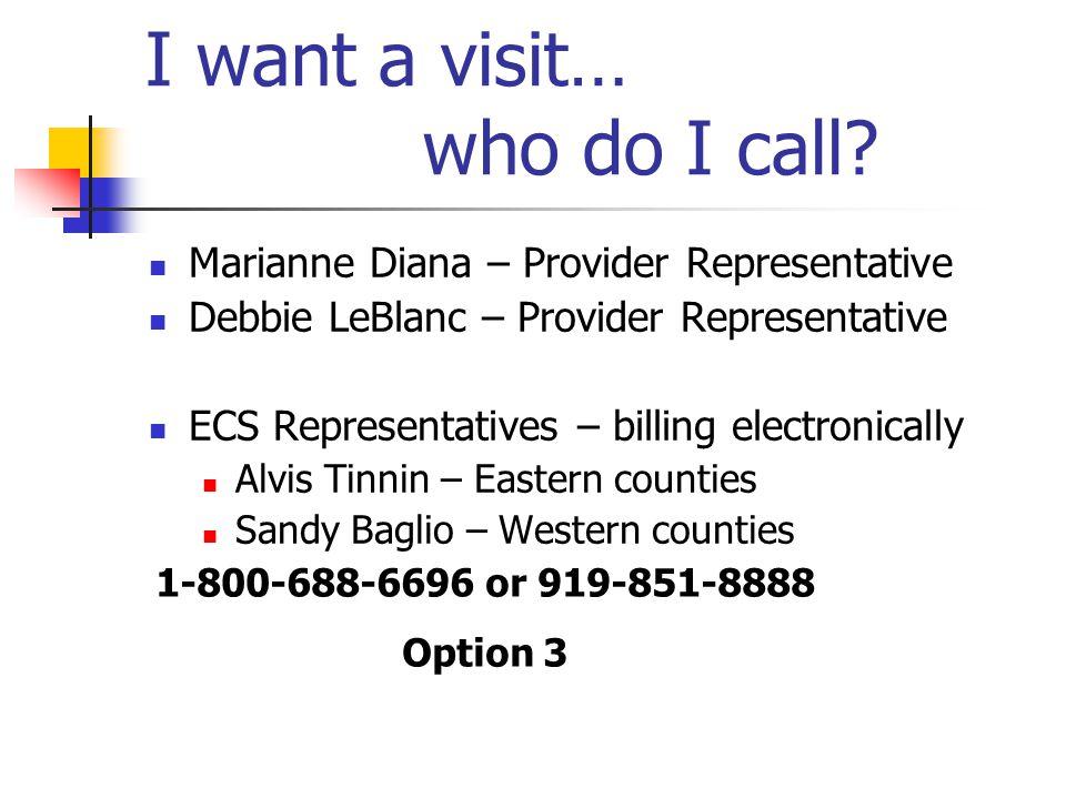 I want a visit… who do I call? Marianne Diana – Provider Representative Debbie LeBlanc – Provider Representative ECS Representatives – billing electro