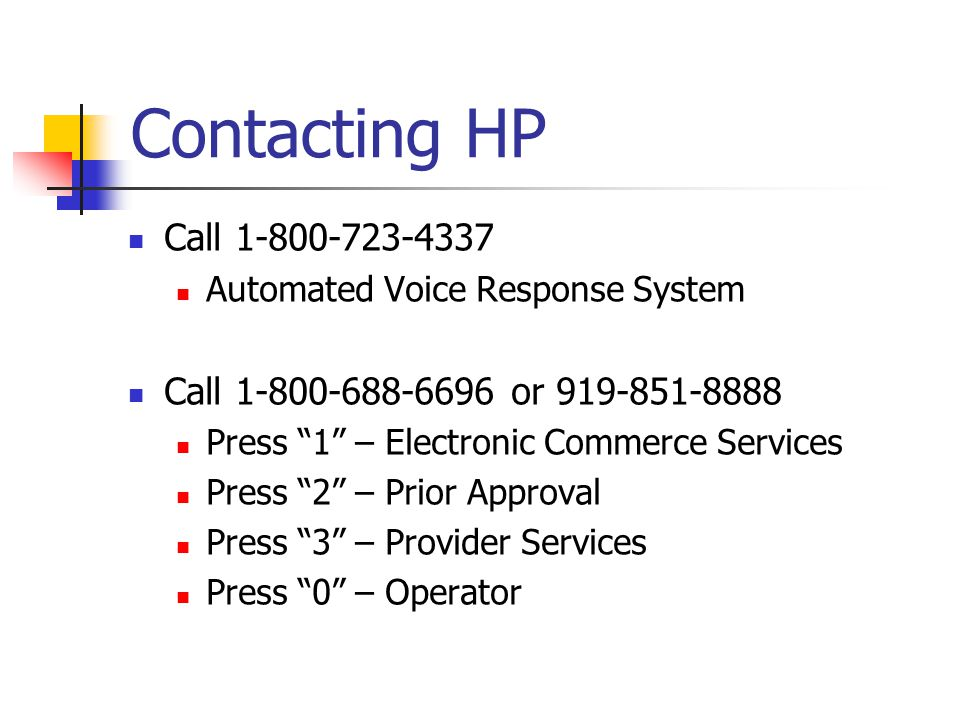 Contacting HP Call 1-800-723-4337 Automated Voice Response System Call 1-800-688-6696 or 919-851-8888 Press 1 – Electronic Commerce Services Press 2 –